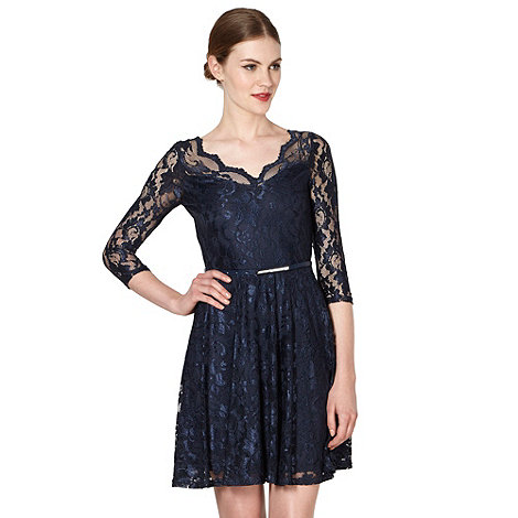 Diamond by Julien Macdonald - Designer navy lace fit and flare dress