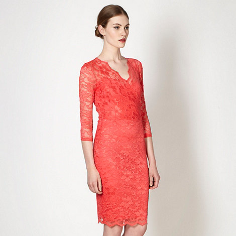 Diamond by Julien Macdonald - Designer peach lace wrap over dress