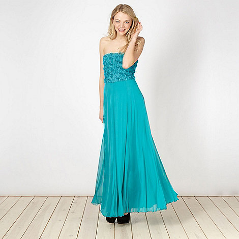 Diamond by Julien Macdonald - Designer turquoise petal bodice maxi dress