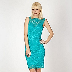 Diamond by Julien Macdonald - Designer turquoise cowl back lace dress