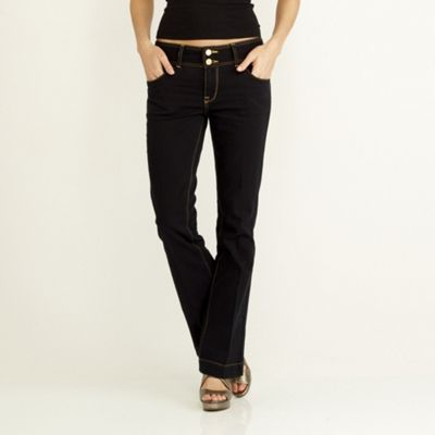 Dark blue belted boot cut jeans