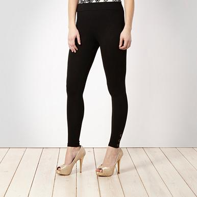 Black tab button leggings