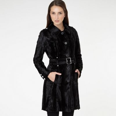 Black Faux Fur Slinky Coat