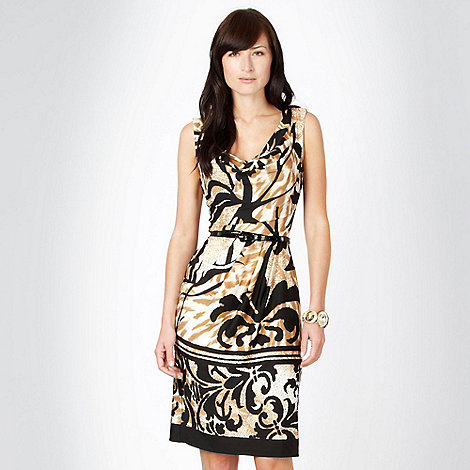 Star by Julien Macdonald - Designer brown animal printed jersey dress - size 8