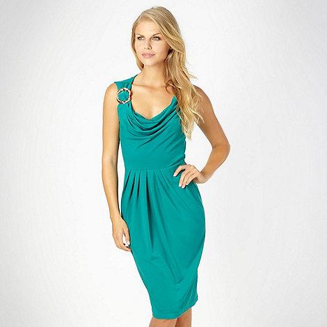 Star by Julien Macdonald - Designer green asymmetric jersey cowl neck dress - size 18