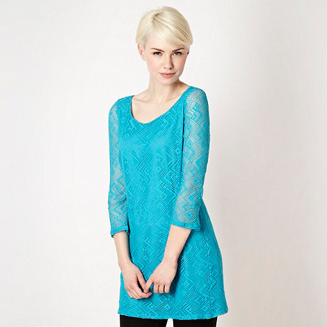 Star by Julien Macdonald - Designer turquoise diamond lace tunic