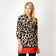 Designer black animal belted shirt tunic dress