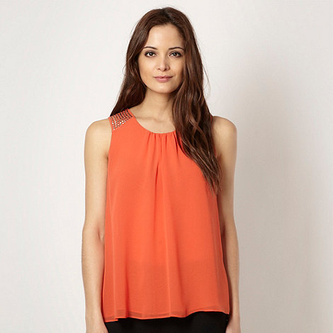 Star by Julien Macdonald - Designer orange studded shoulder top