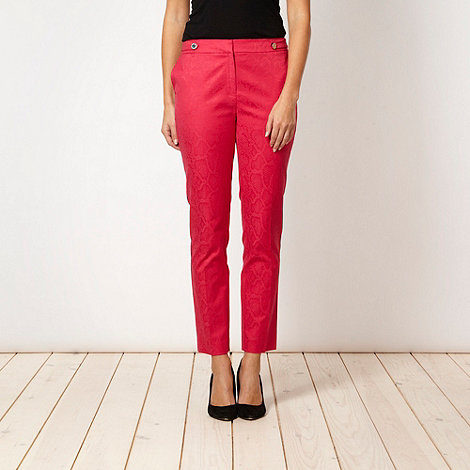 Star by Julien Macdonald - Designer pink snake jacquard trousers - size 8