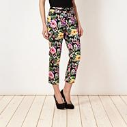 Designer black tropical flower cropped trousers