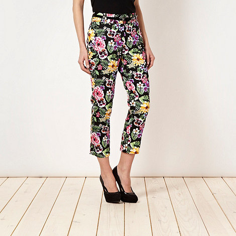Star by Julien Macdonald - Designer black tropical flower cropped trousers
