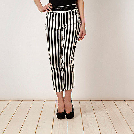 Star by Julien Macdonald - Designer black monochrome striped cropped trousers