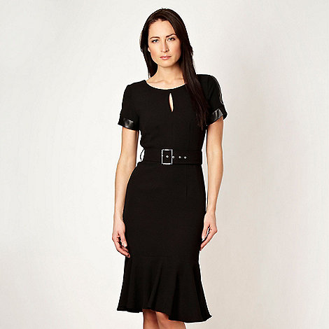 Star by Julien Macdonald - Designer black faux leather panelled work dress