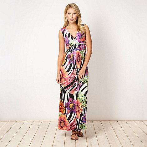 Star by Julien Macdonald - Designer black striped floral maxi dress - size 20