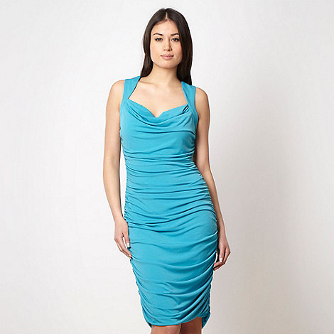 Star by Julien Macdonald - Designer turquoise cowl neck ruched cocktail dress