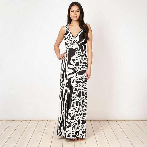 Star by Julien Macdonald - Designer black animal jersey maxi dress