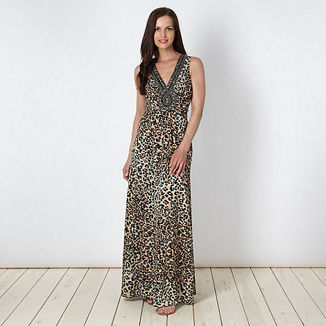 Star by Julien Macdonald - Online exclusive natural animal maxi dress - size 20
