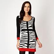 Designer black zebra tunic dress