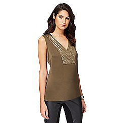 Star by Julien Macdonald - Khaki studded vest top