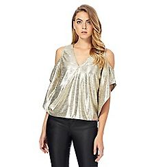 Star by Julien Macdonald - Gold metallic cold shoulder top