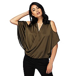 Star by Julien Macdonald - Khaki cold shoulder wrap top