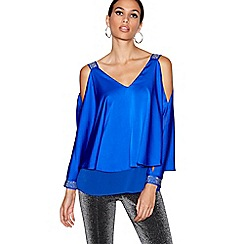 Star by Julien Macdonald - Blue satin cold shoulder top