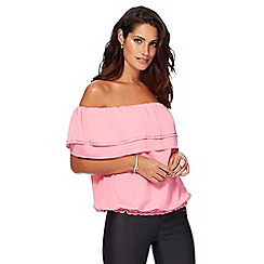Star by Julien Macdonald - Pink tiered hotfix bardot top