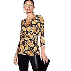 Star by Julien Macdonald - Yellow snakeskin print wrap top