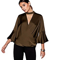 Star by Julien Macdonald - Khaki necklace detail wrap top