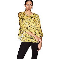 Star by Julien Macdonald - Yellow brooch print satin ruffle sleeve top