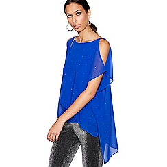 Star by Julien Macdonald - Blue gemstone detail cold shoulder top