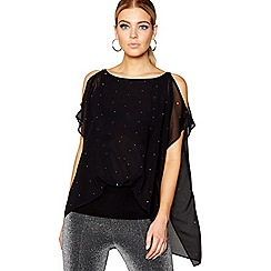 Star by Julien Macdonald - Black gemstone detail cold shoulder top