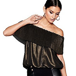 Star by Julien Macdonald - Black metallic pleated Bardot bubble hem top