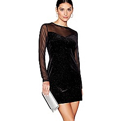 Star by Julien Macdonald - Black velvet sparkle sweetheart neckline long sleeves mini tunic dress