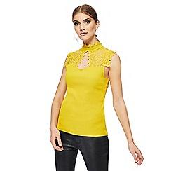 Star by Julien Macdonald - Yellow lace yoke high neck top