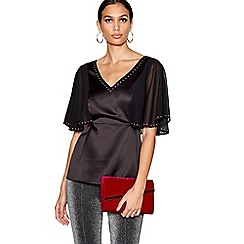 Star by Julien Macdonald - Black gemstone detail satin top