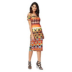 Star by Julien Macdonald - Multi-coloured printed scuba Bardot neck bodycon dress