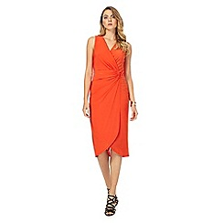 Star by Julien Macdonald - Dark orange jersey V-neck knee length wrap dress