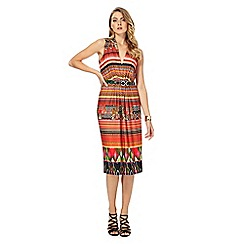 Star by Julien Macdonald - Orange printed V-neck knee length shift dress