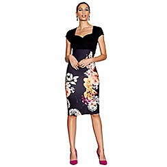 Star by Julien Macdonald - Black floral print scuba knee length bodycon dress