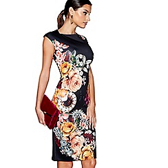 Star by Julien Macdonald - Black floral scuba knee length bodycon dress