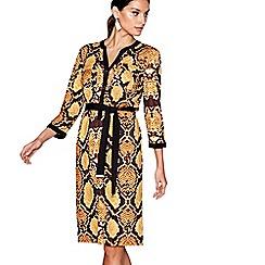 Star by Julien Macdonald - Yellow and black snakeskin print shirt dress