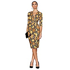 Star by Julien Macdonald - Yellow snakeskin print wrap dress