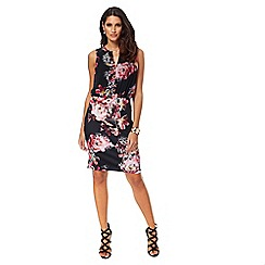 Star by Julien Macdonald - Black floral print scuba knee length dress