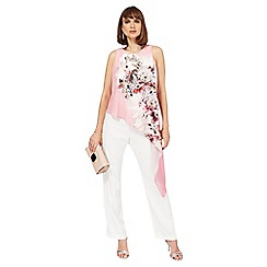 Star by Julien Macdonald - Pink and white floral print asymmetric jumpsuit