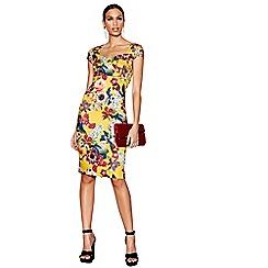 Star by Julien Macdonald - Dark yellow floral gem print scuba knee length bodycon dress