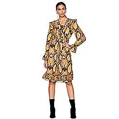 Star by Julien Macdonald - Yellow snake print v-neck long sleeve knee length dress