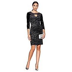 Star by Julien Macdonald - Black animal print velvet knee length bodycon dress