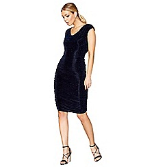Star by Julien Macdonald - Navy glitter cowl neck dress