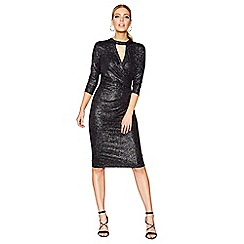 Star by Julien Macdonald - Black glittery choker neck knee length wrap dress